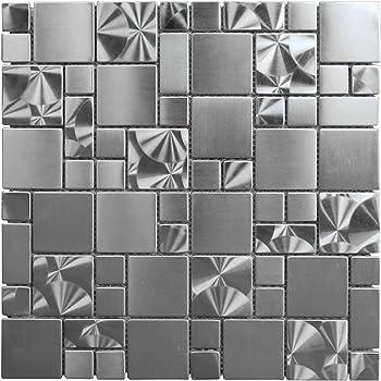 Stainless Steel Metal French Pattern Mosaic Tile For Kitchen Backsplash Wall 3 X 6 Sample 7 99 Amazon Com