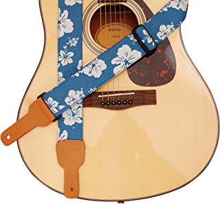 "MUSIC FIRST Original Design, 2 inch width (5cm), Hawaii Style ""Blue and White Plumeria"" Soft Cotton & Genuine Leather Delux Guitar Strap, Ukulele Strap, Mandolin Strap, Salute ELVIS"
