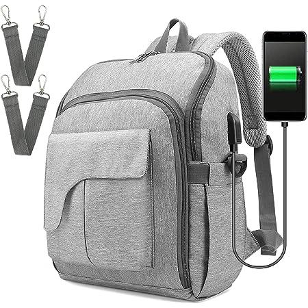 Ceekii マザーズバッグ ママバッグ 大容量 多機能 撥水 保温・保冷ポケット ベビーチェア USBポート フック付き お出産祝い 旅行 (グレー)