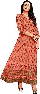 ladyline Anarkali Long Kurtis for Women Indian Tunic Kurta Dress Floor Length Gown