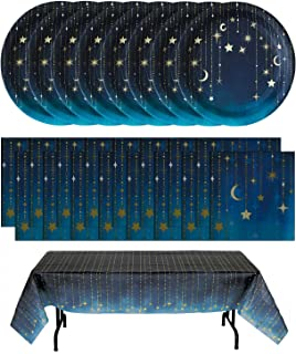 Havercamp Starry Night Party Bundle | Plates, Table Cover, Napkins | Great for Themed Birthday Party, Science Fair, Graduation Celebration