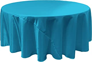 LA Linen Bridal Satin Round Tablecloth, 108-Inch, Turquoise