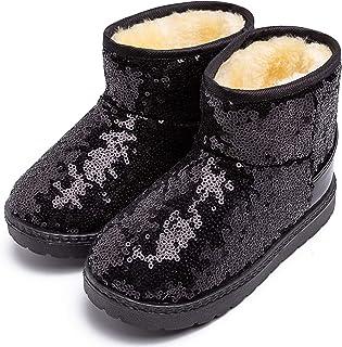 techcity Boys Girls Winter Warm Snow Boots Sequin Fur Lined Waterproof Boot Glitter Princess Outdoor Shoes(Toddler/Little ...