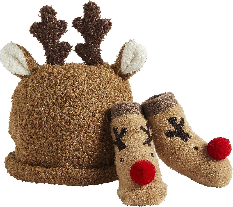 Mud Pie Children's Christmas Sock And Hat Set, Reindeer