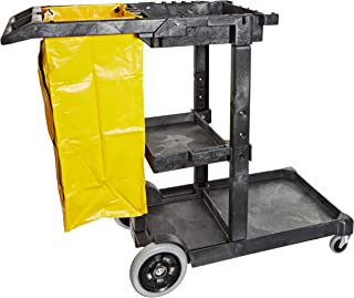 "Impact 6850 Janitor`s Cart with 25-Gallon Yellow Vinyl Bag, Polyethylene, 48"" Length x 20-1/2"" Width x 38"" Height, Gray"
