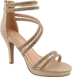 TOP Moda Dressy/Formal Sandals: Medium/High Heel Ankle Strap Open Toe Inna-1 Shoes