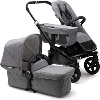 Bugaboo Donkey 2 Mono Baby Stroller, Foldable Stroller, Converts into Twin Side-by-Side Sibling Stroller, from Birth Baby Stroller, Infant Stroller, Multiple Seat Positions, Black/Classic Grey Mélange