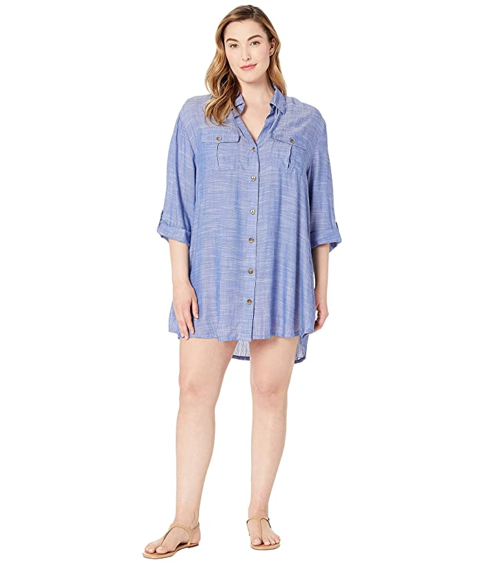 DOTTI Plus Size On Island Time Shirtdress Cover-Up (Denim) Women