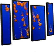 Scott Campbell's Flowing Pacific Sea Nettles 2, 4 Piece Floater Framed canvas Staggered Set 36x54