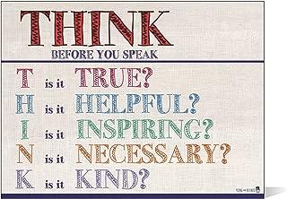 Think before you speak LAMINATED motivational chart LANDSCAPE burlap classrooms and educators poster 15x20