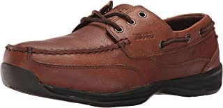 Mens Dark Brown Leather Boat Shoes Sailing Club Steel Toe
