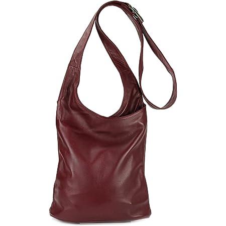 Belli Cross Bag Classic italienische Umhängetasche Damen Ledertasche Handtasche Cross Over Bag in weinrot - 24x28x8 cm (B x H x T)