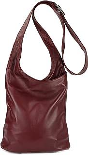 Belli Cross Bag Classic italienische Umhängetasche Damen Ledertasche Handtasche Cross Over Bag - 24x28x8 cm B x H x T