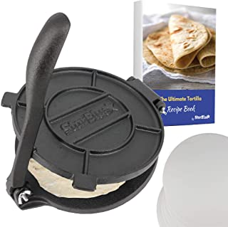 8 Inch Cast Iron Tortilla Press by StarBlue with FREE 100 Pieces Oil Paper and Recipes e-book - Tool to make Indian style ...
