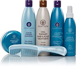 Ovation Hair Holiday Gift Set - Color System with Cell Therapy - Get Stronger, Fuller & Healthier Looking Hair with Natural Ingredients - Includes Shampoo, Conditioner, Repair Mask, Detangler, Comb