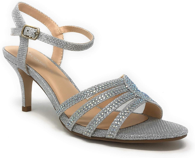 CITYCLASSIFIED City Classified NASA Comfort Womens Strappy Rhinestone Open Toe Low Heel Heeled-Sandals,Silver N,8.5