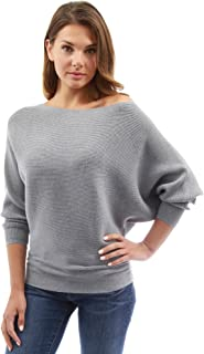 Women One Shoulder Batwing Ribbed Sweater