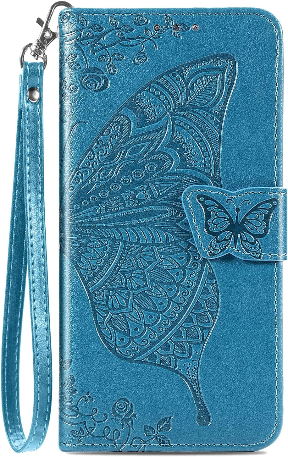 Galaxy A12 Wallet Case, [Butterfly & Flower Embossed] Leather Wallet Case Flip Protective Phone Cover with Card Slots and Kickstand for Samsung Galaxy A12 6.5-inch (Blue)