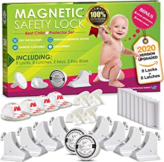 Invisible Magnetic Cabinet Locks Child Safety Kit, Secure Kitchen & Bedroom Cabinets. Cupboards with 8 Baby Proofing Cabinets Door & Drawer Locks for Kids & Toddlers. 2 Keys & 3M Adhesive Straps. (8)
