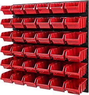 Stapelboxen opslagsysteem - 772 x 780 mm - wandrek 36 stuks dozen gereedschapsgatwand schudplank (rood)