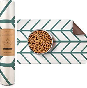 Nalalas Bohemian Pet Food Mat, Dog Food Mat, Cat Mat, Feeding Mat, Eco-Friendly and Non-Toxic, Easy to Clean Waterproof Nonslip Mat for Dog Bowls and Water, (17