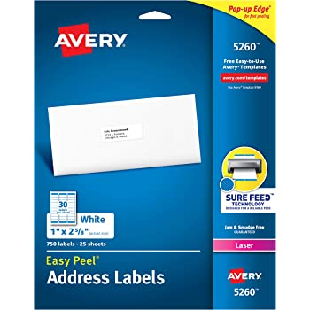 "Avery 5260 Address Labels with Sure Feed for Laser Printers, 1"" x 2-5/8"", 750 Labels"
