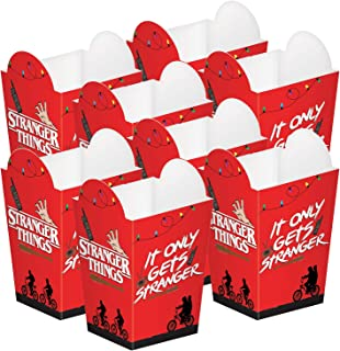 Amscan Stranger Things Popcorn Boxes | 8 Pieces | Great for Halloween Party and Horror Movie Marathon | Officially License...