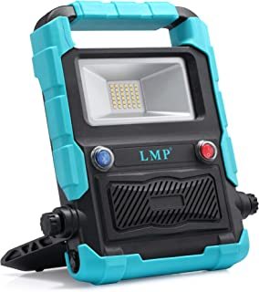 LMP Portable LED Work Light With Wireless Bluetooth speakers,Stereo Sound,Built-in Rechargeable Lithium Batteries 20W 1800LM Nature Waterproof LED Flood Light for Outdoor Camping and Job Site Lighting