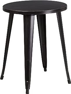 Flash Furniture 24'' Round Black-Antique Gold Metal Indoor-Outdoor Table