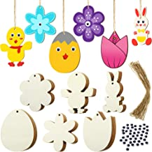 120 Pieces Unfinished Wood Easter Ornaments Egg Bunny Duck Tulip Shape Cutouts with Holes Hang Tags Favor Tags Gift Tags T...
