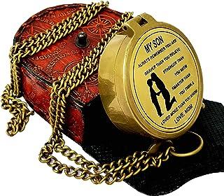 ذا نيو انتيك ستور - بوصلة مع حقيبة جلدية/ هدية لابن/ هدية لابن/ هدية من الأم إلى الابن/ هدايا تذكارية للابن