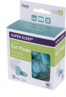 Flents Super Sleep Comfort Foam Ear Plugs/Earplugs | 10 Pair | Case Included | NRR 29 | Made in The USA