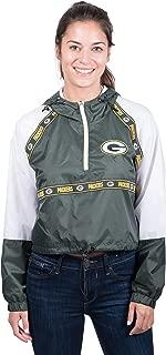 Ultra Game NFL Women's Quarter Zip Hoodie Windbreaker Play Action Jacket