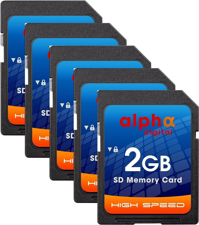 Alpha Digital 5x Memory Card for Nikon D50 D40 D40X D3300   2GB Secure Digital (SD) Memory Cards Plus Agfa Card Reader (5 Pack)