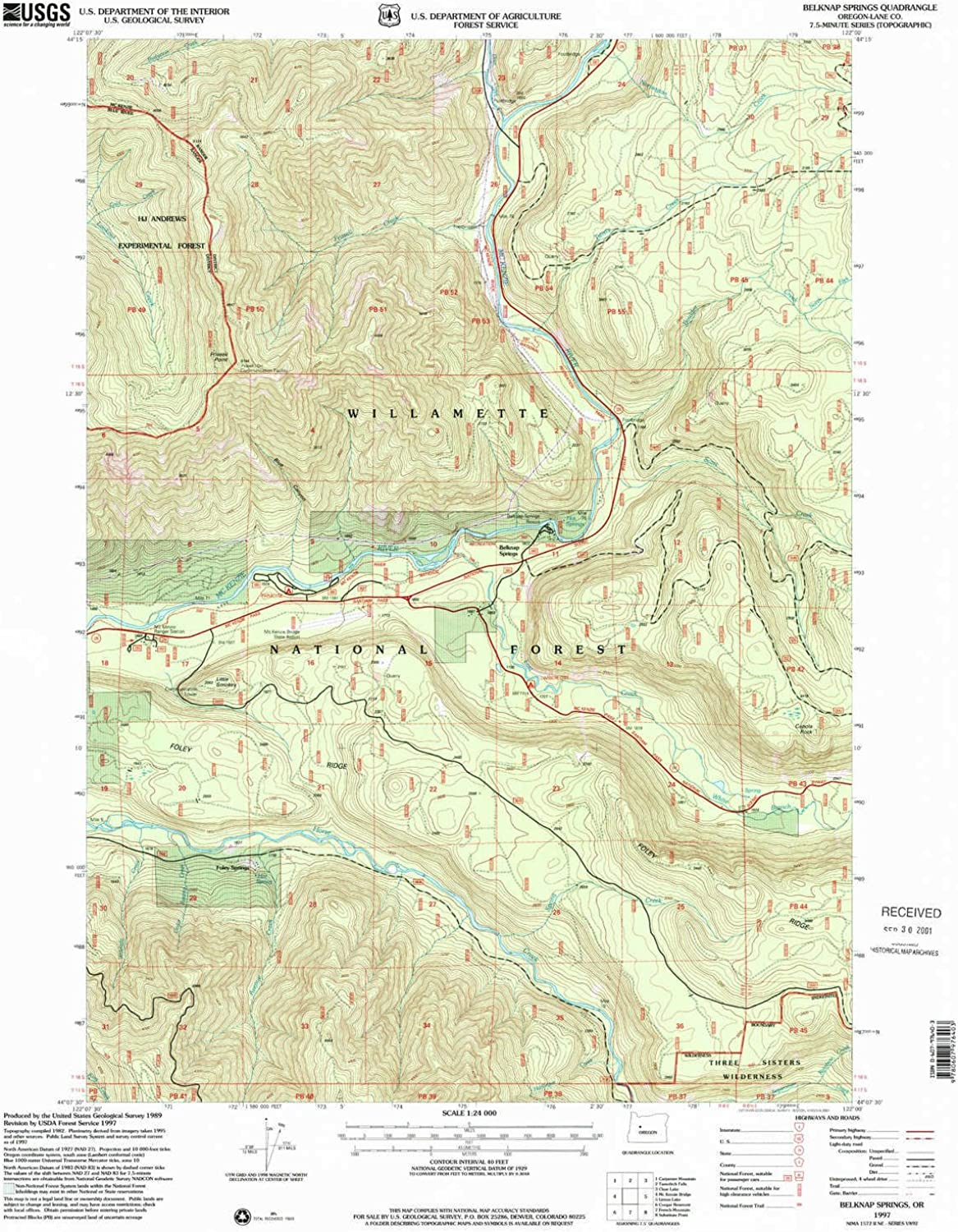 Belknap Springs OR topo map, 1 24000 Scale, 7.5 X 7.5 Minute, Historical, 1997, Updated 2001, 26.8 x 21.9 in