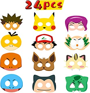 MALLMALL6 24Pcs Pikachu Masks Dress Up Costumes Pikachu Paper Mask Birthday Party Favors Anime Cartoon Trainer Pretend Play Accessories Photo Booth Props Video Game Party Supplies for Kids Boys Girls