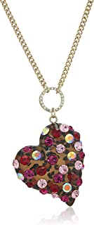 Betsey Johnson Womens Pink and Gold Long Pendant Necklace
