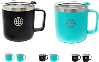 Camping Coffee Mug with Lid and Handle - JTSC Products 2 Pack 14 oz Double Wall Vacuum Insulated Stainless Steel coffee mug - Cool gifts for Men and Women (Black Blue)