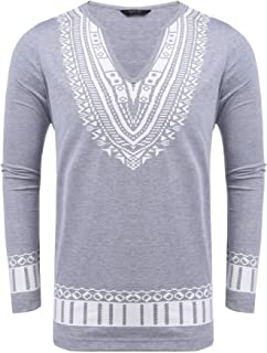 COOFANDY Men's Long Sleeve Hipster Hip-hop Long Street T-Shirt African Dashiki Printed Tee Shirt