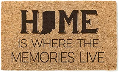 Kindred Hearts 18x30 Coir Doormat Home Memories Live-Indiana, Multicolor