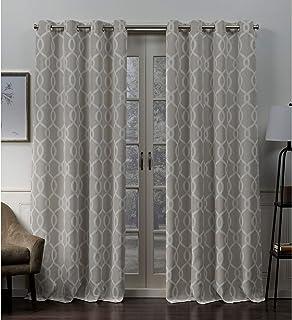 (linen, 52x96) - Exclusive Home Trilogi Woven Blackout Grommet Top Curtain Panel Pair