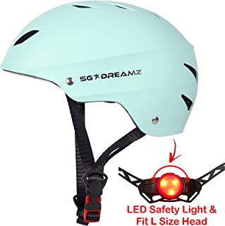 Adult Helmet with LED Safety Light – Commuter Bicycle Helmet for Men and Women - Adjustable Dial for Head Circumference 22
