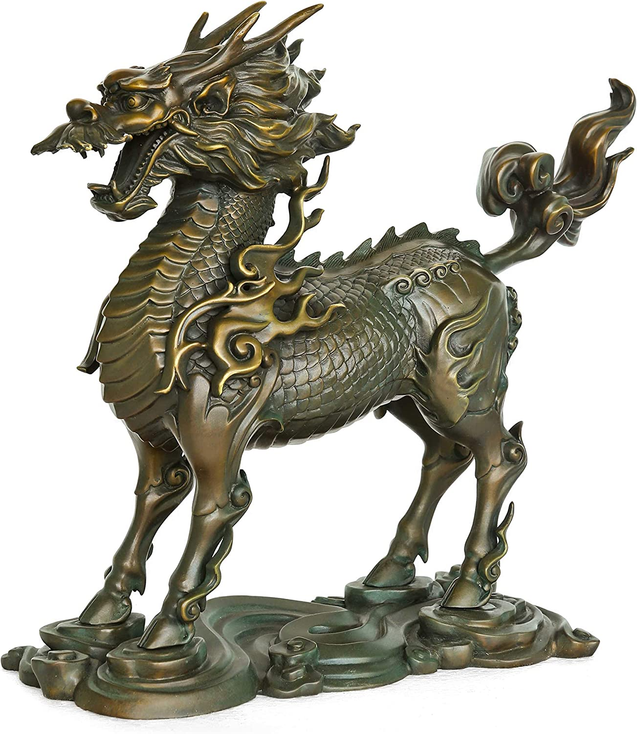"""13"""" Chinese Old Handmade Carved Statue Copper Bronze Gild Dragon Statues"""
