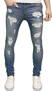 526 Mens Designer Stretch Super Skinny Ripped Distressed Jeans