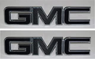 Shop Vinyl Design GMC Front and Rear Emblem Overlay Kit Yukon, Sierra, Denali, Acadia, Terrain 3M Black Carbon Fiber - 2 Kits