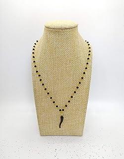 Collana girocollo stile rosario realizzata a mano con filo di colore oro, cristalli neri e ciondolo cornetto portafortuna ...