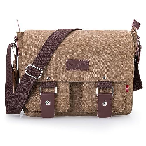 3503c5660ca9 Bienna Vintage Canvas Messenger Bag Satchel Laptop Over Shoulder Crossbody  Side Bags with Zipper for Men