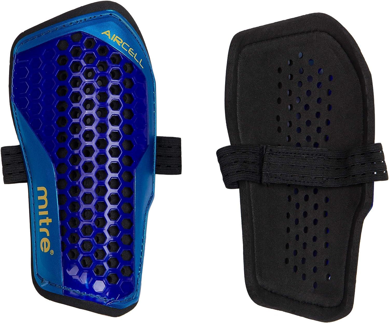 Mitre Slip Aircell-Espinillera (Carbono), Color Azul y Amarillo, Unisex Adulto