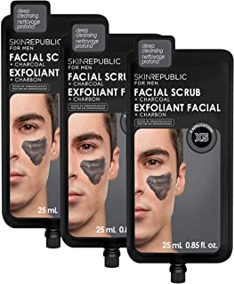 Skin Republic Charcoal Facial Scrub Cleans Pores and Exfoliates Skin One Pack has 5 Applications 3 Pack