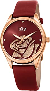 Women's Diamond Accented Flower Watch - Rose Cut-Out Dial with Glitter Powder with 4 Diamond Hour Markers On Satin Leather Strap Watch - BUR189